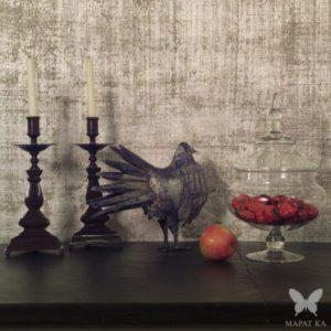 Декоративное покрытие лен, серебряная поталь