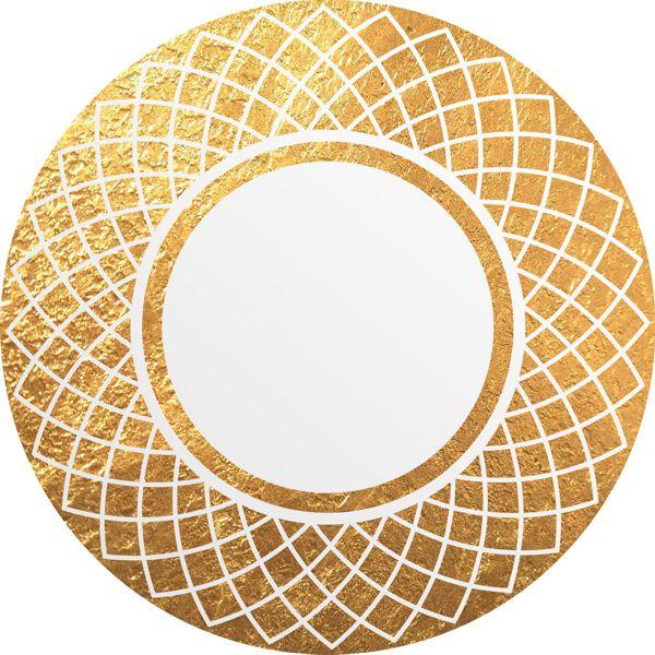 Круглое зеркало в солнечной раме