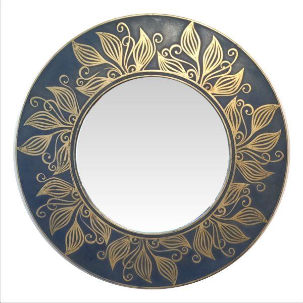 Круглое зеркало. Орнаментальная литая латунь.