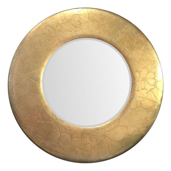 Зеркало в круглой золотой раме с цветочным рисунком