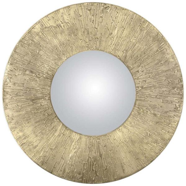 Круглое зеркало Лофт матовая латунь