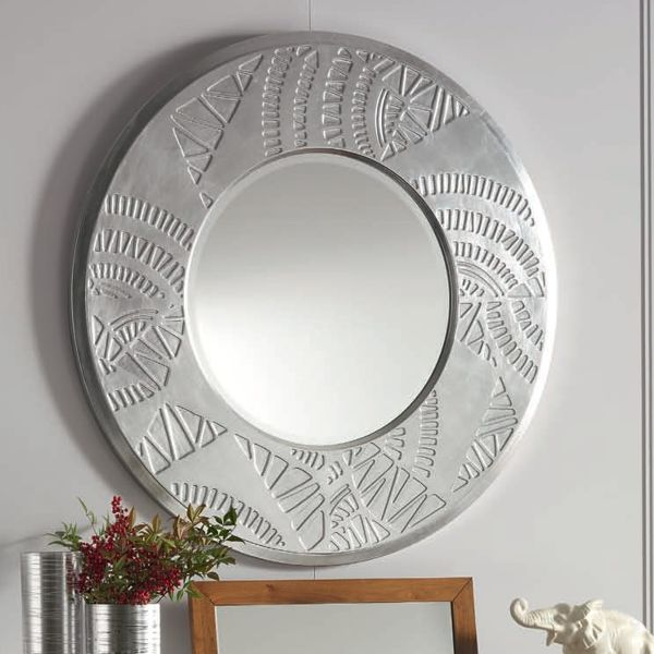 Круглое зеркало. Рисунок техно. Декоративный аллюминий.