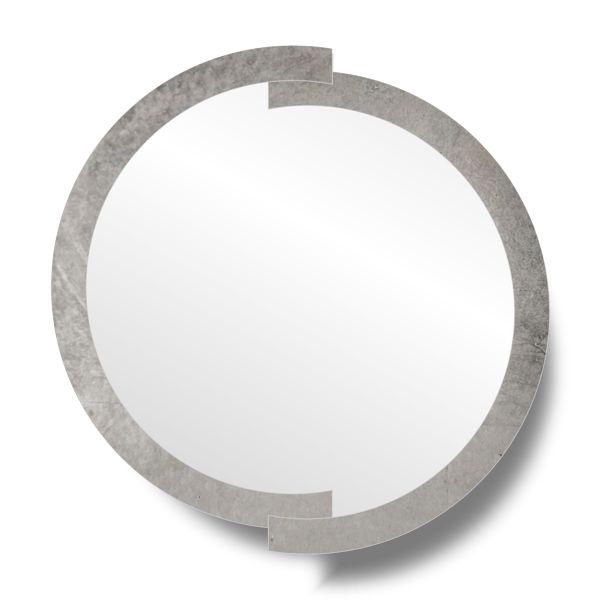 Зеркало в серебряной круглой раме