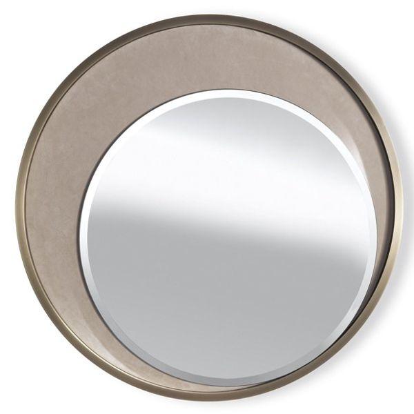 Круглое зеркало. Латунь. Имитация замши.