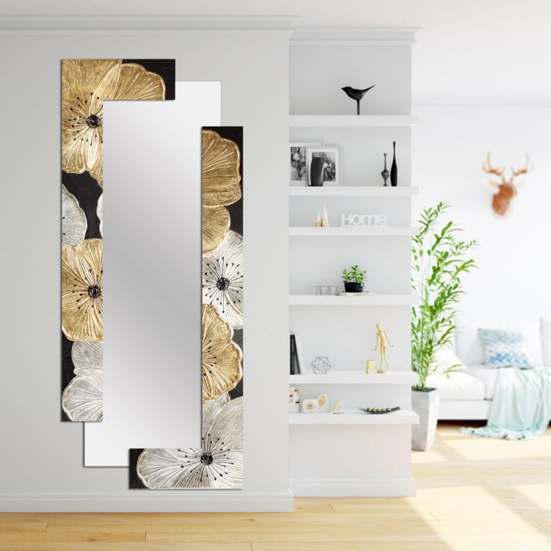 Большое зеркало Золотые Серебряные цветы
